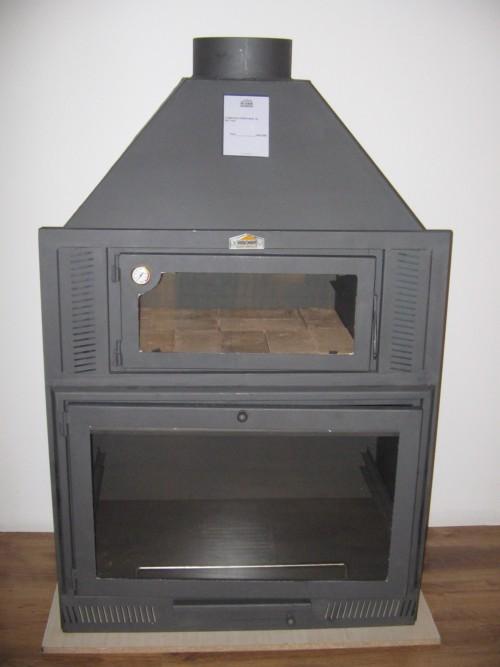 Insertable para hogar de le a con horno superior en acero for Construccion de chimeneas de lena