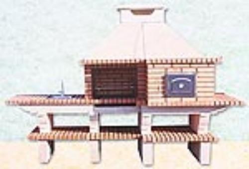 Barbacoa con horno y lavabo en ladrillo refractario y cemento - Barbacoas de ladrillo refractario ...