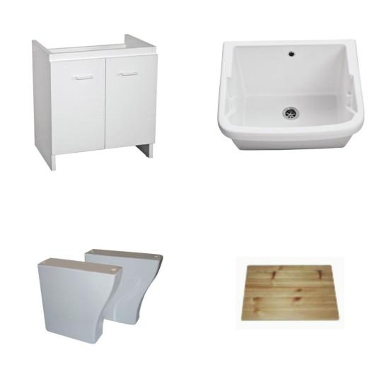 Lavadero de cer mica con mueble de soporte y accesorios for Lavadero porcelana