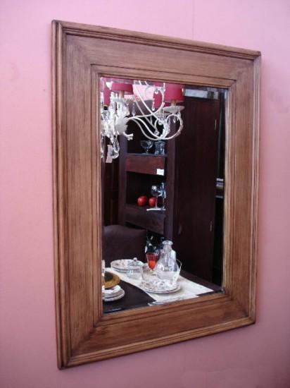 Espejos decorativos de madera for Espejo rectangular con marco de madera