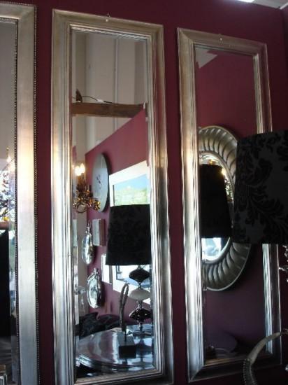 Espejos Alargados Con Marco Plateado