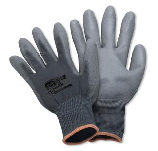 Guantes de nylon gris con poliuretano gris en palma y dedos - Guantes de seguridad ...