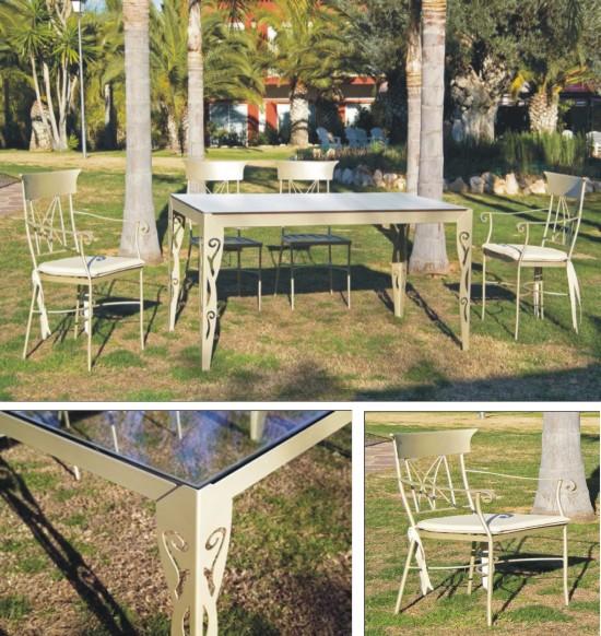 Mesa rectangular de forja con sillas de forja a juego - Mobiliario de forja ...