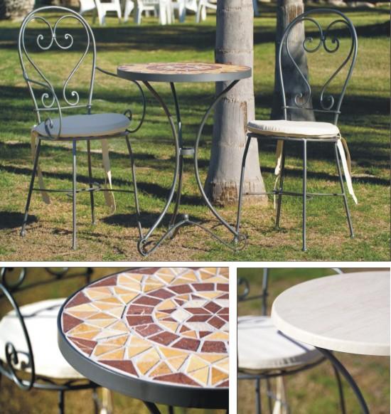 Mobiliario de forja artesanal para terraza colecci n c rdoba for Mobiliario jardin terraza