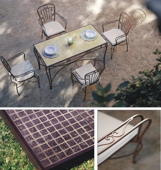Sillas y mesas de forja de tapa cer mica con dibujo for Mobiliario de jardin en sevilla