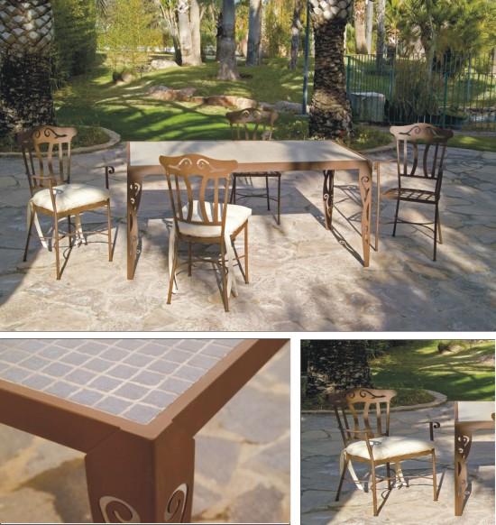 Mesas sillas y sillones de forja para exterior colecci n for Muebles de jardin malaga