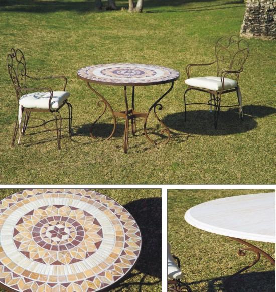 Mesas y sillas de forja para exterior colecci n toledo for Ofertas en mesas y sillas