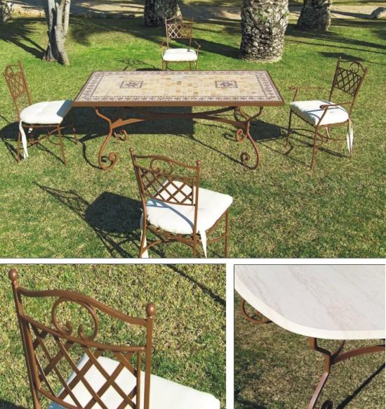 Mesa silla y sill n de forja para exterior con varias - Mesas de piedra para exterior ...
