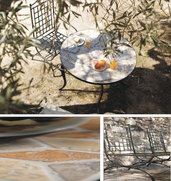 Mesas de forja para jardin mesa de comedor de forja eunice en mbar muebles bancas jardn - Mesas de piedra para exterior ...