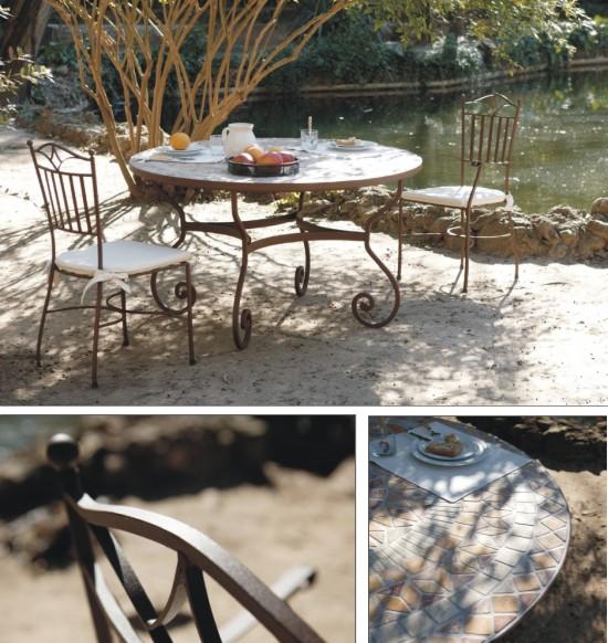 Mesa redonda de forja y sillas a juego para jardines y for Mobiliario exterior para jardin