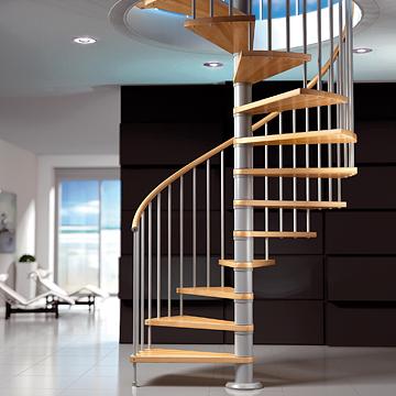 escalera circular caracol en madera y metal