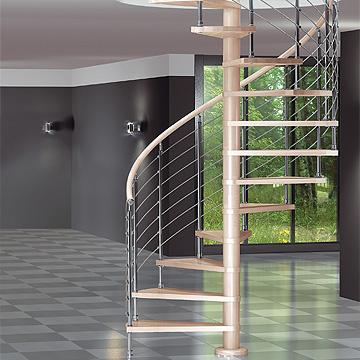 escalera en espiral escalones de madera de haya y metal