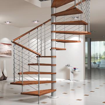 Escalera cuadrada en espiral en haya laminada y metal silver - Modelos de escaleras de interiores de casas ...