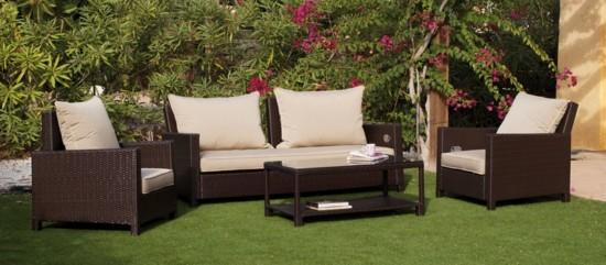 Conjunto de mesa sof y sillones con respaldos - Cojines para sillones de jardin baratos ...