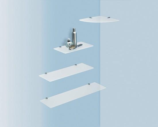 Estantes De Pared Para Baño:Estantería de cristal para esquina de baño