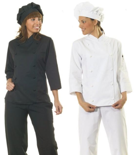 Casacas de cocinera con manga de 3 4 en blanco o negro con for Uniformes de cocina precios