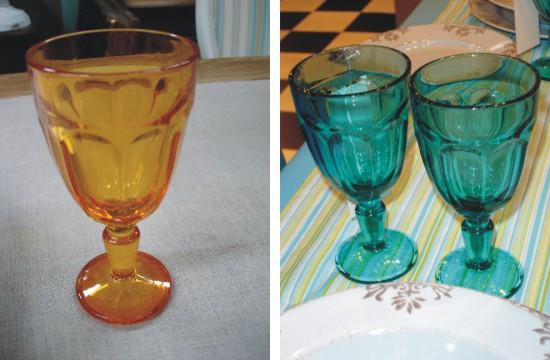 Copas de color naranja o turquesa for Vasos cristal colores