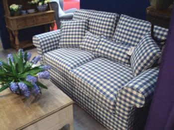 Telas con rayas azules formando cuadros - Telas tapiceria sofas ...