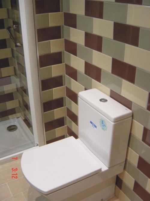 Baño Reformado Ducha:detalle de alicatado y ducha en baño reformado